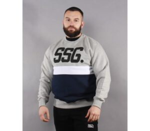 BLUZA SSG KLASYK TRIPLE LINE LIGHT GREY/NAVY