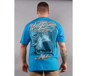 T-SHIRT PITBULL CALIFORNIA DOG BLUE