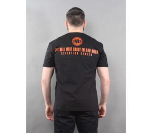 T-SHIRT PITBULL ORANGE DOG BLACK