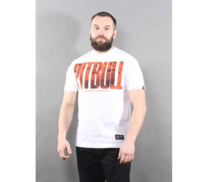 T-SHIRT PITBULL ORANGE DOG WHITE