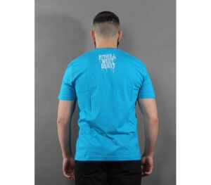 T-SHIRT PITBULL ON LINES SURFER BLUE