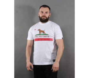 T-SHIRT PITBULL VINTAGE FLAG WHITE