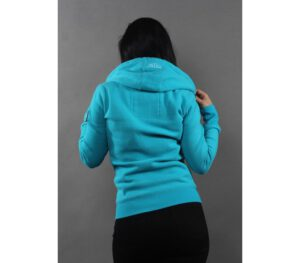 BLUZA DAMSKA ZIP KAPTUR PITBULL LOGO LIGHT BLUE